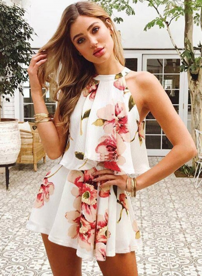 Fashion Floral Printed Halter Off The Shoulder Tank With Straight Shorts
