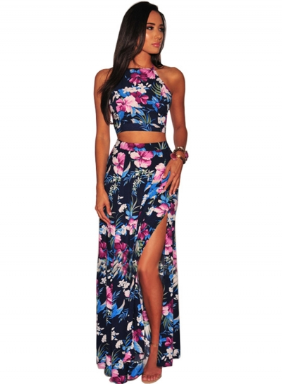 Summer Floral Printed Sleeveless Backless Lace-Up Crop Top Slit Skirt Set