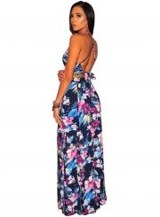 0c494688ec27 ... Summer Floral Printed Sleeveless Backless Lace-Up Crop Top Slit Skirt  Set ...