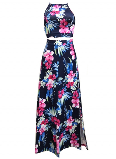 2aeb3dd07b49 Summer Floral Printed Sleeveless Backless Lace-Up Crop Top Slit Skirt Set -  STYLESIMO.com
