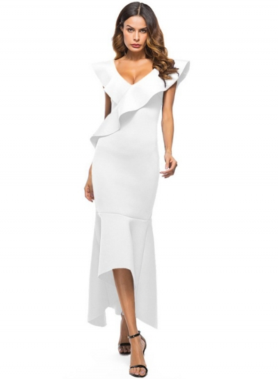 Fashion Sexy Slim Solid Ruffle Backless V Neck Maxi Dress