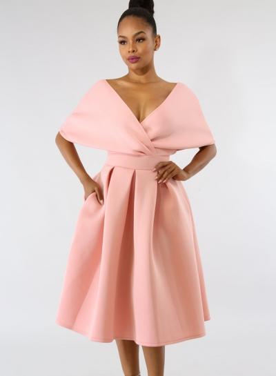 Fashion Sexy Solid Short Sleeve Backless V Neck Women Midi Dress