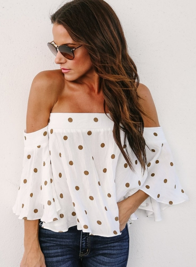 Fashion Sexy Slash Neck Ruffle Hem Back Zip Blouse With Polka Dots