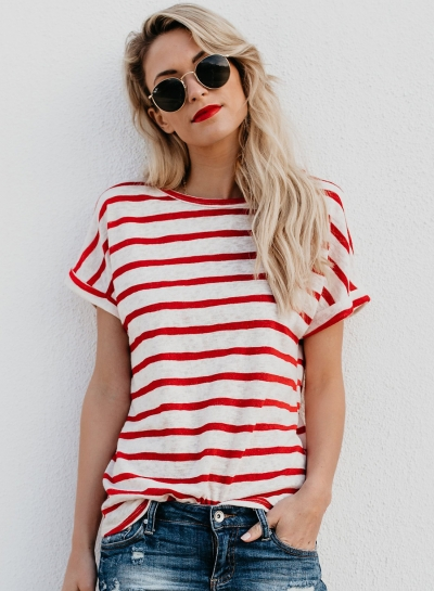 Casual Loose Striped Short Sleeve Round Neck Pullover Tee Shirt