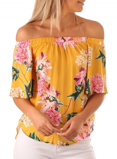 Casual Loose Yellow Floral Print Half Sleeve Off Shoulder Blouse