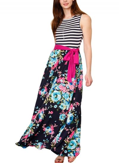 Blue Pink Floral Striped Sleeveless Waist Tie Boho Dress