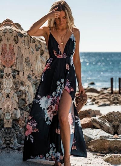 Fashion Chiffon Floral Printed Spaghetti Strap V Neck Slit Maxi Dress