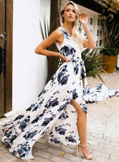 Fashion Boho Floral Printed Sleeveless V Neck Slit Maxi Dress