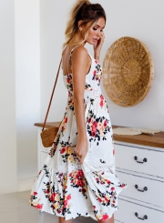 Summer Casual Floral Printed Lace Splicing Strappy V Neck Midi Dress