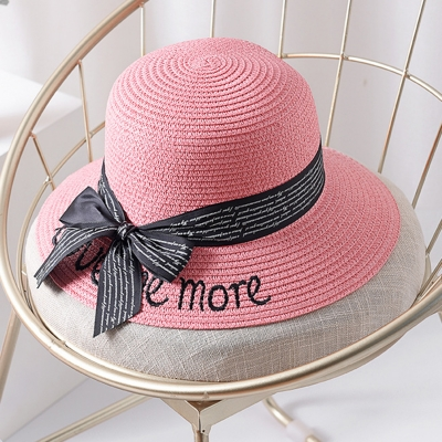 Straw Floppy Foldable Rolled Up Beach Sunscreen Hat With Bow