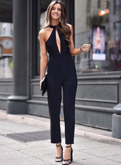 Fashion Sexy Slim Solid Halter High Waist Pencil Jumpsuit With Zip