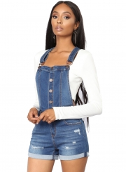 Casual Slim Roll-up Cuffs  Button Down Denim Short Overall With Pockets