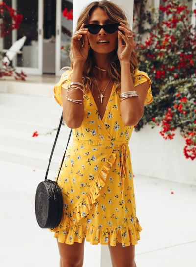 Summer Casual Floral printed Short Sleeve V Neck Waist Tie Dress