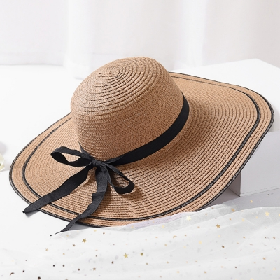 Big Brim Hat Floppy Foldable Straw Hat Summer Beach Hat with bowknot