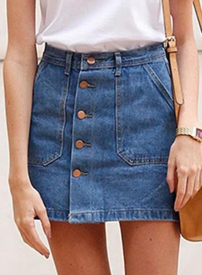 Summer Slim Solid Single-Breasted High Waist A-line Denim Skirt