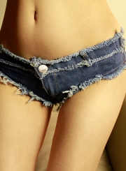 Summer Sexy Beach Retro Wash Zipper Fly Denim Burrs Hot Shorts
