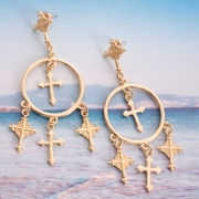 Vintage Exoticism Alloy Carved Lines Crucifix Tassel Drop Earrings
