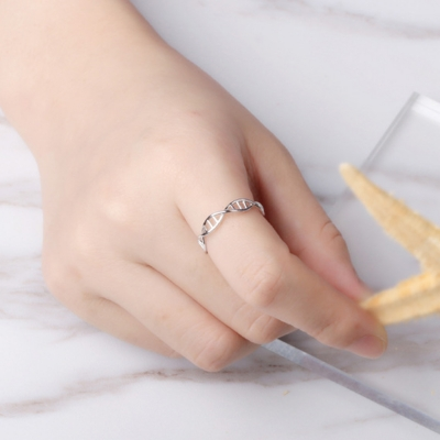 Fashion Concise Double Helix Geometry Rotating Open Ring STYLESIMO.com