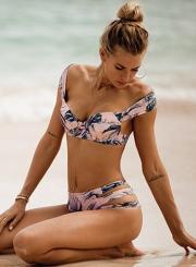 Sexy Sweet Leaf Printed Strappy High Waist Hollow Out Bikini Swimwear