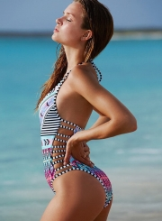 Sexy Slim Halter Lace-Up Backless Hollow Out One Piece Swimsuit