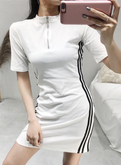 Casual Striped Colorblock Zip Neck Short Sleeve High Waist Sports Dress