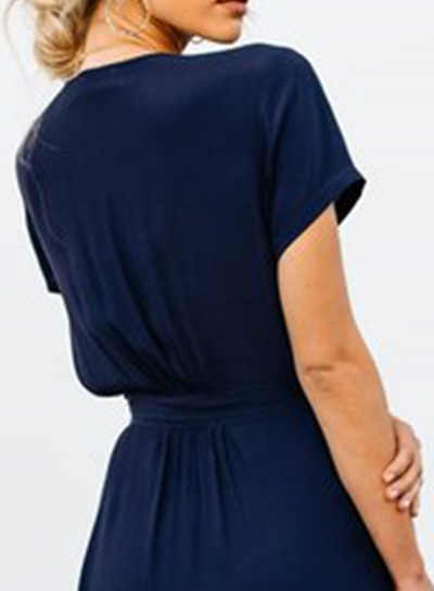 ac724fe8eb8 Elegant Solid Short Sleeve V Neck Waist Tie High Slit Maxi Dress  stylesimo.com