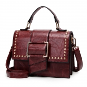 Vintage Leather Handbag Cross Body Shoulder Bag With Rivet