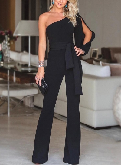 Black Asymmetric One Shoulder Wide Leg Jumpsuit With Belt