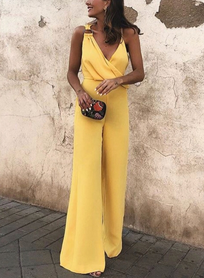 Fashion Sexy Asymmetric Spaghetti Strap V Neck Wide Leg Solid Jumpsuit