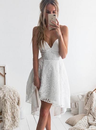 4801104ba1f Fashion Sexy Beach White Spaghetti Strap Slit V Neck Midi Dress ...
