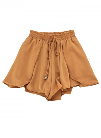 Casual High Waist A Line Culottes Wide Leg Shorts With Drawstring