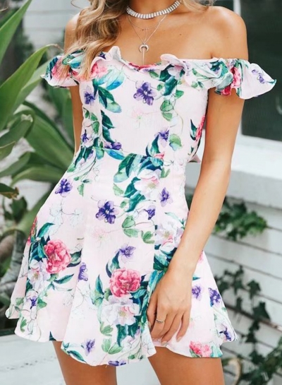 Sexy Floral Printed Slash Neck Flounce Sleeve High Waist Mini Dress