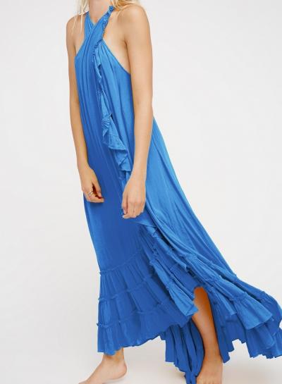 Summer Beach Solid Halter Off The Shoulder Ruffle Hem Slit Maxi Dress