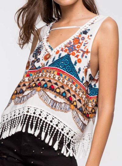 Summer Casual Loose Lace Floral Printed Sleeveless V Neck Tassel Tee