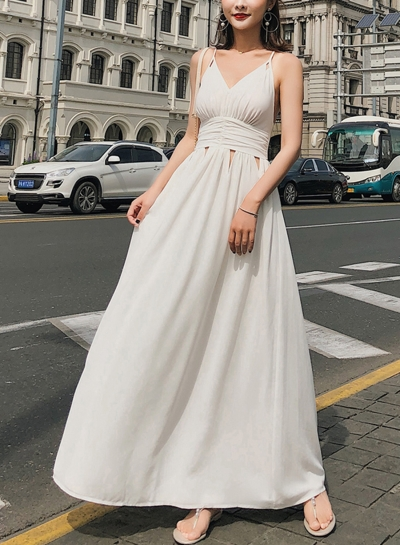 White Spaghetti Strap V Neck Backless High Waist Maxi Dress