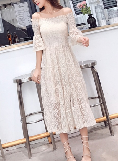 Fashion Lace Off The Shoulder Flare Sleeve High Waist Solid Bubble Dress
