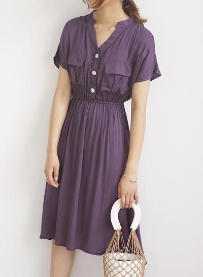 Summer Casual Short Sleeve V Neck Front Buttons Pockets High Waist Dress STYLESIMO.com