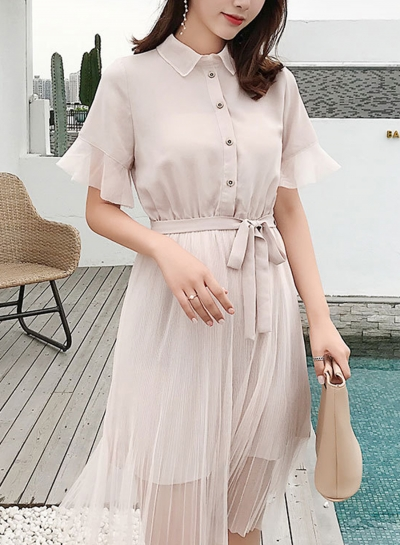 Fashion Mesh Short Sleeve Turn-Down Collar Front Buttons Waist Tie Dress
