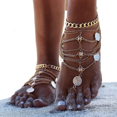 Fashion Boho Vintage Silver Plated Coin Tassel Anklets