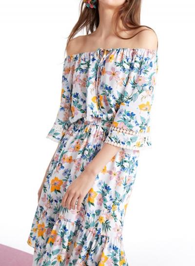 Summer Floral Printed Round Neck Half Sleeve High Waist Lace-Up Dress