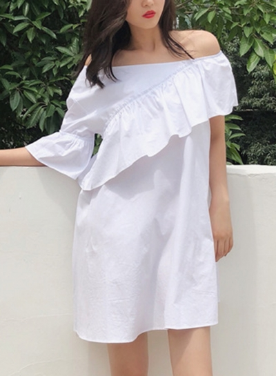 Summer Sexy One Off Shoulder Ruffle Trim Short Sleeve Loose Solid Dress