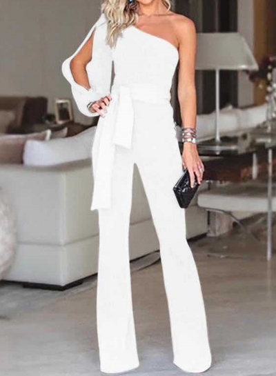 White Asymmetric One Shoulder Wide Leg Jumpsuit