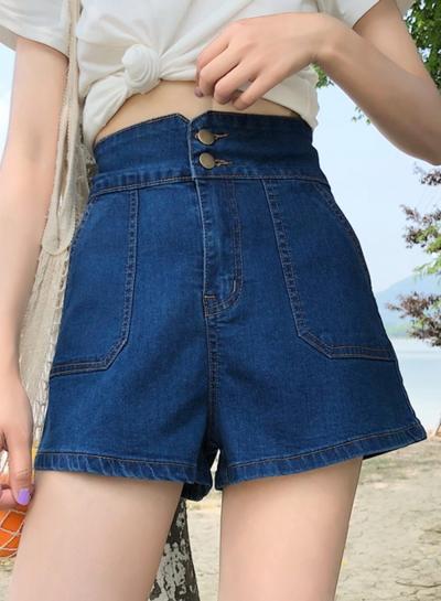Summer Casual High Waist High Elasticity Wide Leg Pockets Denim Shorts
