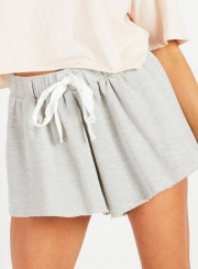Summer Casual Straight Wide Leg Loose Solid Women Shorts With Drawstring