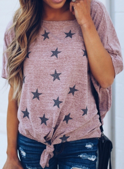 Summer Casual Loose Short Dolman Sleeve Round Neck Front Knot Tee