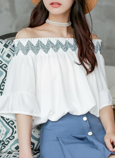 Summer Fashion Embroidered Off Shoulder Flare Sleeve Loose Blouse