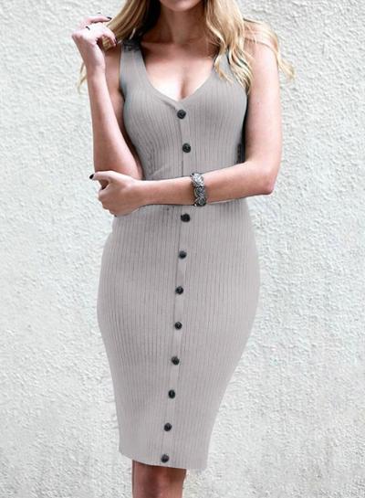 Fashion V Neck Sleeveless Single-Breasted Solid Slim Tank Dress