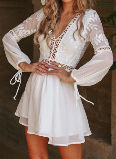 Fashion Long Sleeve V Neck Hollow Out High Waist A-line Mini Dress