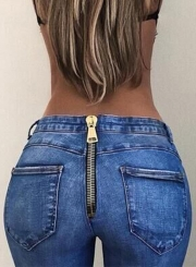 Casual Sexy Slim Zipper Fly Pencil Jeans With Pockets