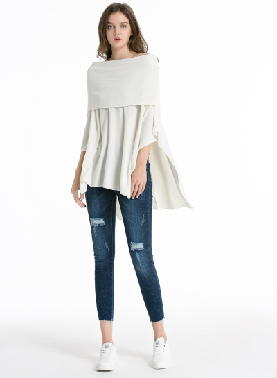 Fashion Casual Off Shoulder Irregular Loose Fit Solid Tee